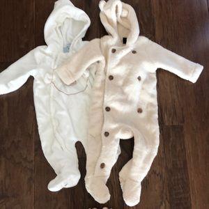 2 fleece onesies Baby Gap and Little by Little